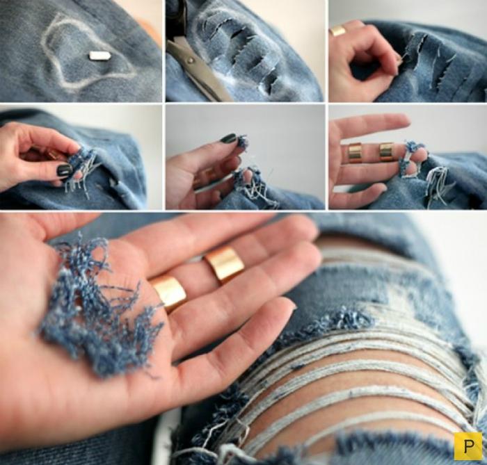 Вытертые джинсы своими руками
