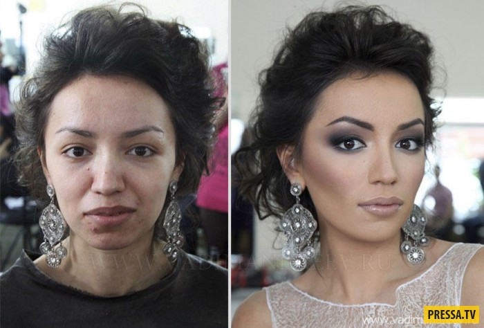 Девушка без и с макияжем