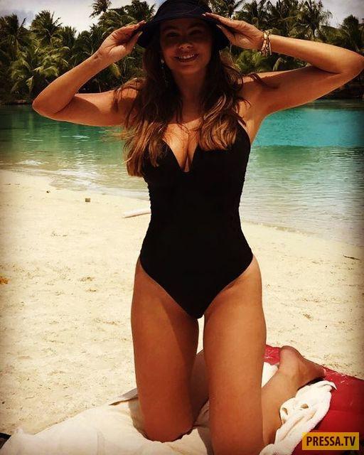 44-летняя актриса София Вергара похвасталась сексуальной фигурой в купальнике (9 фото)