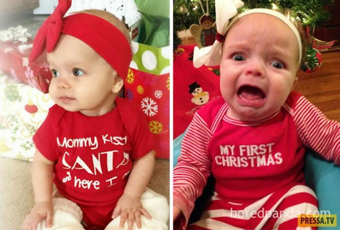 Родительские провалы во время новогодних фотосессий с детьми (20 фото)