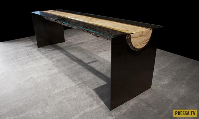 Брутальный и стильный стол из дерева (9 фото)