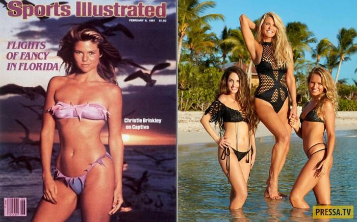 63-летняя модель Кристи Бринкли с дочерьми в журнале Sports Illustrated, март 2017 (6 фото)