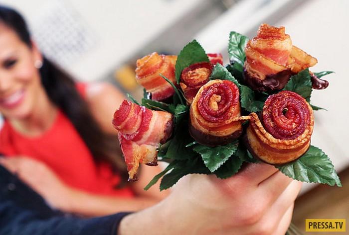 Креативный подарок  своими руками  - розы из бекона (14 фото + видео)