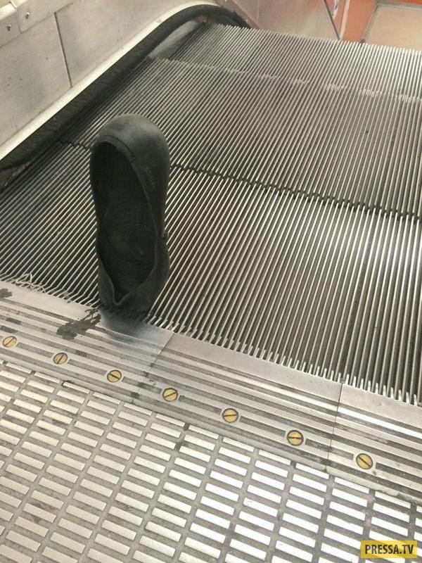 Опасности поездки на эскалаторе (17 фото)