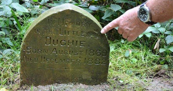 Необычный надгробный камень в лесу