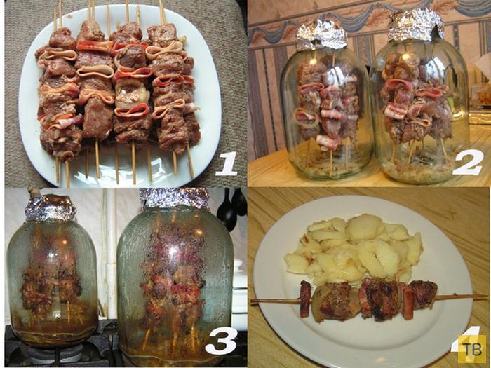 Вкуснейший шашлык в трехлитровой банке и духовке (4 фото)