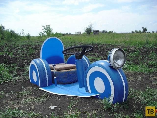 Креативные поделки из старых автомобильных шин для сада и дома (70 фото)