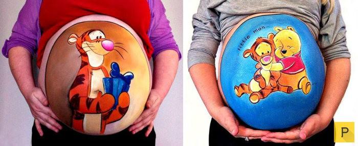 Необычные рисунки на животах беременных женщин (10 фото)