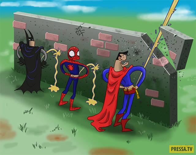 Картинки про супергероев приколы