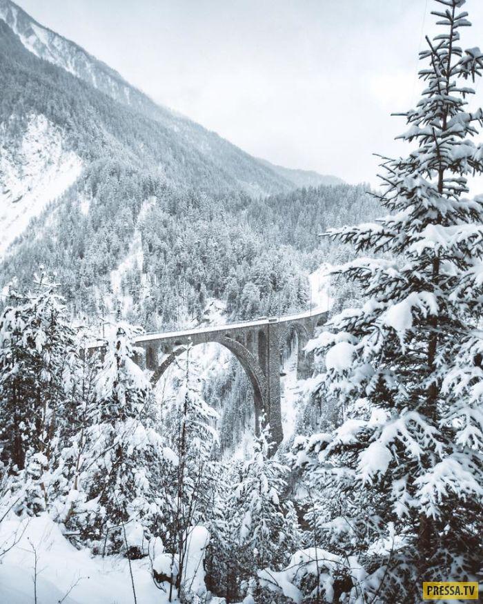 Фотографии чертова моста в альпах зимой