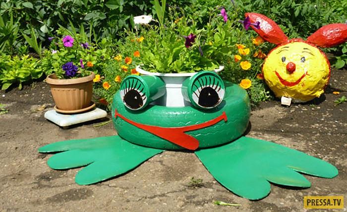 Клумбы из шин своими руками фото лягушка
