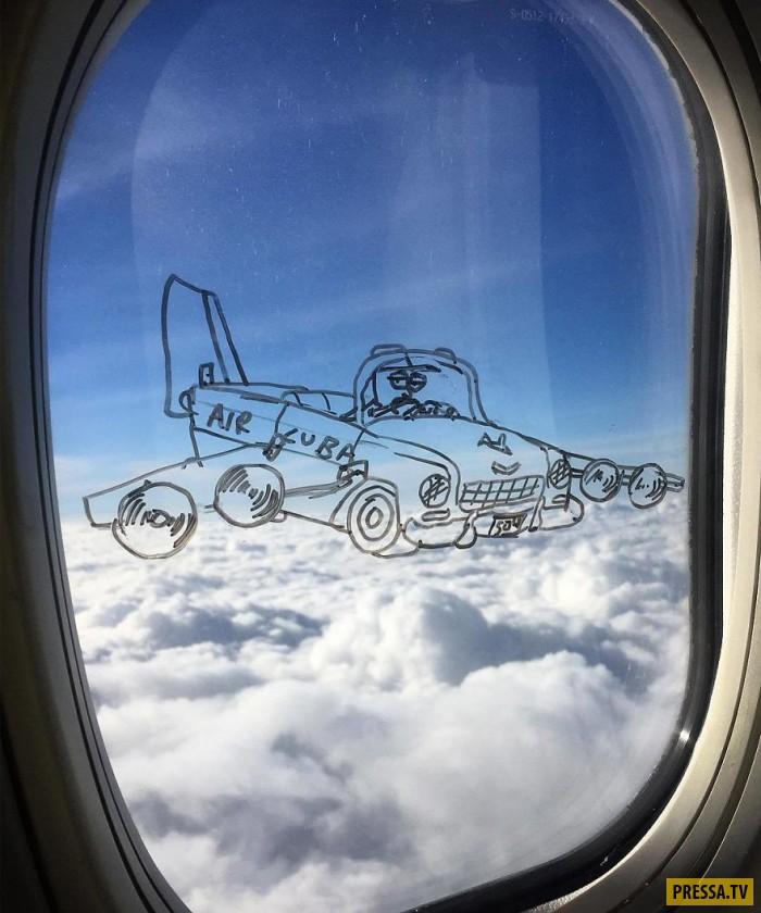 Креативные рисунки на окнах самолета (12 фото)