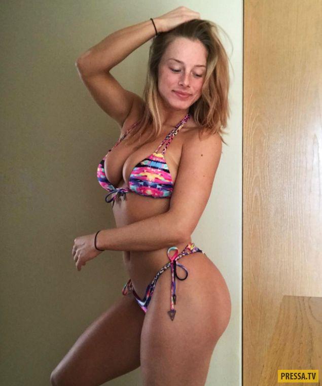 Filling her bikini
