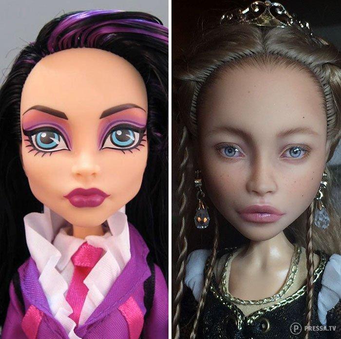 Художница смывает макияж с кукол и создает реалистичные образы